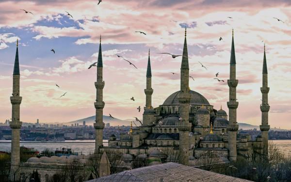 Вид на Голубую Мечеть и Босфор