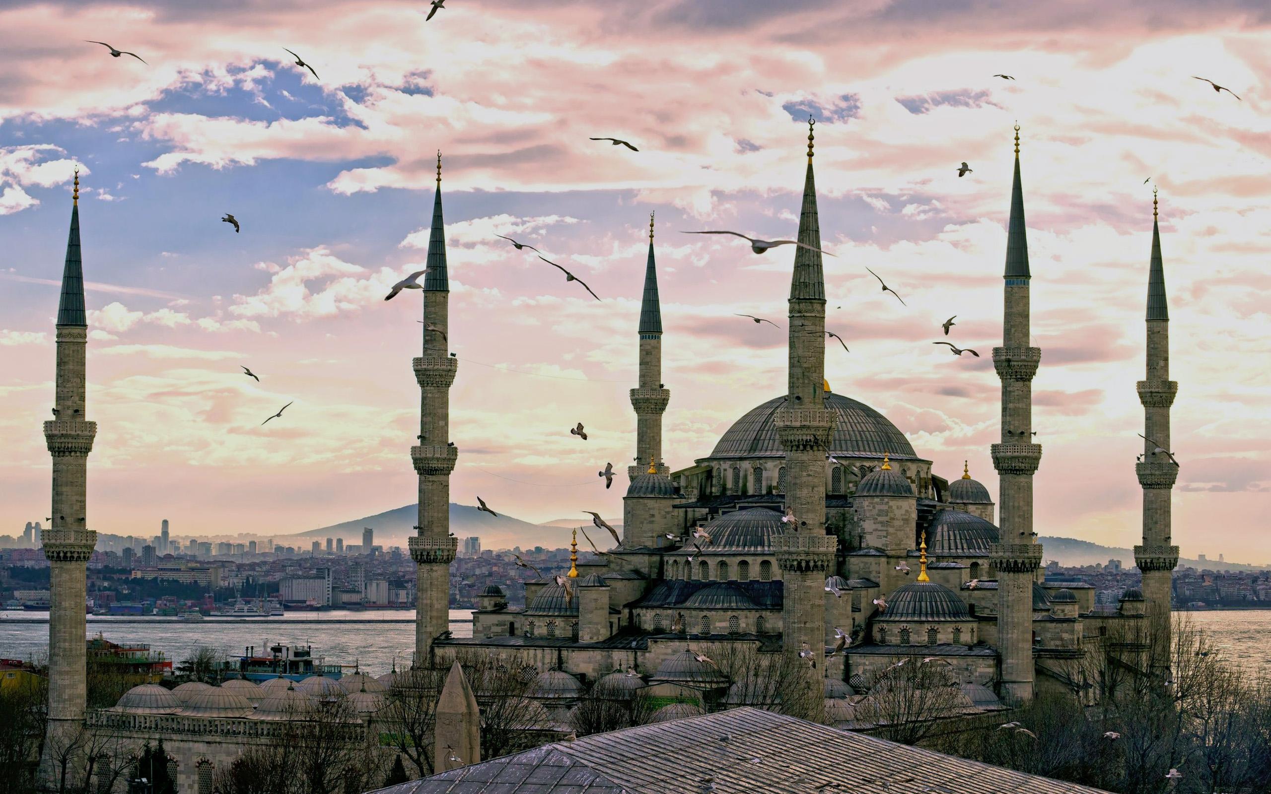 Обои Султанахмет, пролив, башни, Пейзаж, голубая мечеть, дворец, турция, стамбул. Города foto 13